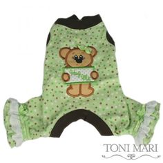 Hug Me Flannel Dog Pajama, Green (also comes in pink), Toni Mari -  $41.00  Way cute!!!