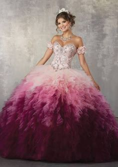 e2f682966e Shop Morilee s Jewel Beaded Bodice on a Ruffled Ombré Tulle Ballgown.  Beautiful Quinceañera Ballgown featuring a Sweetheart Neckline