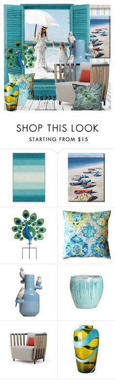 """""""The beach house of your dreams"""" by nicolevalents ❤ liked on Polyvore featuring interior, interiors, interior design, home, home decor, interior decorating, Grandin Road, Pillow Decor, Lladró and Ethimo"""