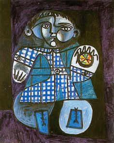 """surrealism-love:  """" Claude with a ball, 1948, Pablo Picasso  Size: 100x81 cm  Medium: oil on canvas"""""""