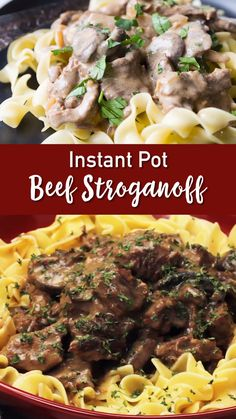 Instant Pot Beef Stroganoff When you want beef stroganoff there is no easier way to make it than instant pot. Tender, flavorful beef, and an amazing gravy. For stroganoff lovers everywhere! Best Easy Dinner Recipes, Instant Pot Dinner Recipes, Delicious Recipes, Instant Pot Pressure Cooker, Pressure Cooker Recipes, Beef Tenderloin Recipes, Roast Beef, Slow Cooker Steak, Beef And Noodles