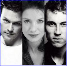 The cast members playing Jamie, Claire and Frank from author Diana Gabaldon's Outlander, soon to premiere on Starz!