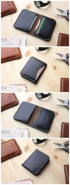 This leather bifold wallet on the one hand has pocket that can hold all your cash from all currencies bills or somewhere around seven credit cards. On the other side two of which is inside of the wallet for credit cards or other different things and one i Leather Wallet Pattern, Small Leather Wallet, Handmade Leather Wallet, Leather Card Wallet, Sewing Leather, Leather Bifold Wallet, Leather Wallets, Men's Leather, Leather Projects