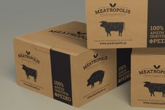 Corporate identity and packaging for butcher shop.The initial idea for the logo design and corporate identity based on traditional butchers of America in early For the typography chosen a slab typeface to assist the transition from 1900 to today. Brand Packaging, Box Packaging, Packaging Design, Carton Design, Cardboard Design, Kraft Boxes, Carton Box, Butcher Shop, Brand Identity Design
