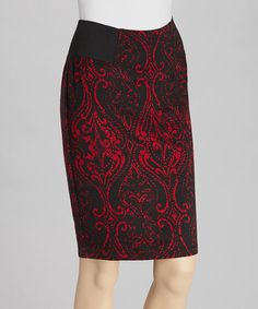 Take a look at this Black & Red Ponte Skirt by NYCC on #zulily today!