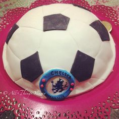 Birthday Cakes for Boys - Football Shaped Fondant Cake with Chelsea Symbol | All Things Yummy #chelseafan #epl #football #soccer #soccerfan #cake #footballcake #chelsealogo #chelsea #atyummy