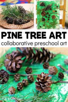 This pine tree art is a great way to create collaborative art with your preschoolers. The kids can explore process art as they work with pine tree materials. Process Art Preschool, Preschool Art Activities, Winter Activities, School Art Projects, Projects For Kids, Pine Tree Art, Pine Branch, Branches, Art For Kids