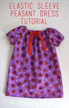 Sewing Projects For Children Elastic Sleeve Peasant Dress Tutorial - Free sewing tutorial for a peasant dress with elastic sleeves. These dresses are perfect for charity sewing projects, nightgowns, or just cute dresses for little girls. Beginner Knitting Patterns, Sewing Patterns For Kids, Doll Clothes Patterns, Sewing For Kids, Baby Sewing, Free Sewing, Peasant Dress Patterns, Peasant Dresses, Peasant Dress Tutorials