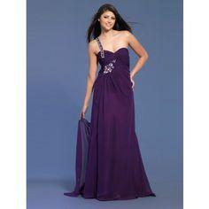 Elegante One Shoulder Abendkleider Lang Chiffon Lila