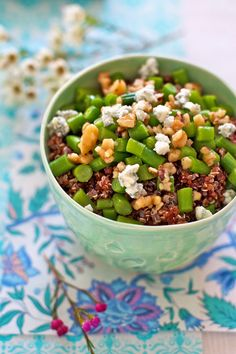 Green Beans with Toasted Walnuts and Quinoa Recipe | FamilyFreshCooking.com