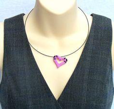 Beaded Heart Necklace Hot Pink Jewelry Beadwork by BeadworkAndCoe, £25.00