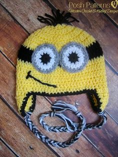 Crochet Hat PATTERN - Minion Inspired Earflap Hat Beanie Crochet Pattern - Instant Download PDF 245 - Newborn to Adult - Photo Prop Pattern