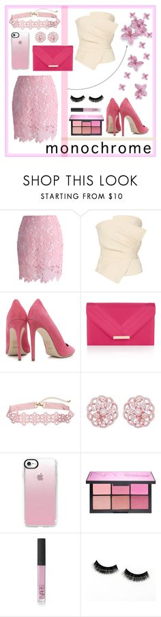 """""""pale pink set"""" by bad-bunny15 ❤ liked on Polyvore featuring Chicwish, Yeon, Dee Keller, Accessorize, Emilio!, Casetify and NARS Cosmetics"""