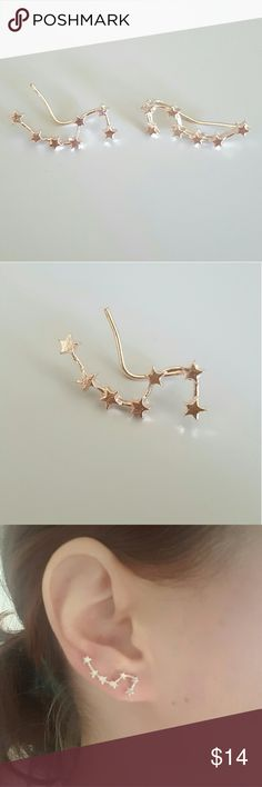 "Anthropologie Constellation Crawler Earrings Gold ""She said we were doomed to be star-crossed lovers, destined to wonder what might have been...""  These pretty babies will set your ears a'twinklin', not matter your outfit.  Gold colorway. Brand new without tags! Anthropologie Jewelry Earrings"