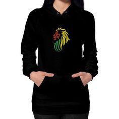Lion Reggae Music Flag Colors Hoodie (on woman)