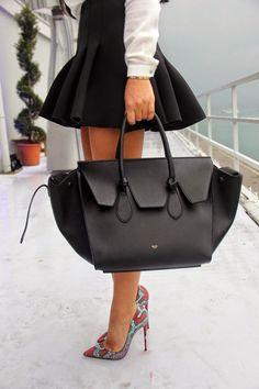 Celine Tricolor Medium Trapeze bag in black/orange/white calf hair ...