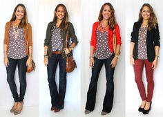 J's Everyday Fashion - polka dot top 4 ways