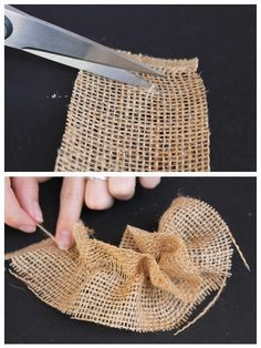 DIY Burlap Flowers, simple step by step instructions on EngagedNowWhat.com