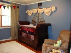 awesome pirate nursery/boys room. Tutorial on how to make that mast above the crib