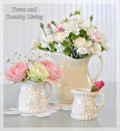 Even a single rose bud in a tiny white pitcher can be pretty when paired with other arrangements.