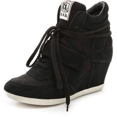 Ash Bowie Wedge Sneakers - Black/Black (165 BGN) ❤ liked on Polyvore featuring shoes, sneakers, wedges, zapatillas, black velcro sneakers, black leather sneakers, black shoes, black hidden wedge sneakers and wedges shoes