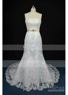 Wholesale Stunning Strapless Champagne Ribbon Lace see through wedding dresses, Free shipping, $172.48-179.2/Piece | DHgate