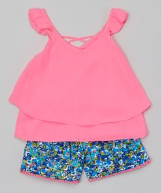Another great find on #zulily! Girls Luv Pink Fuchsia Layered Angel-Sleeve Top & Floral Shorts - Girls by Girls Luv Pink #zulilyfinds