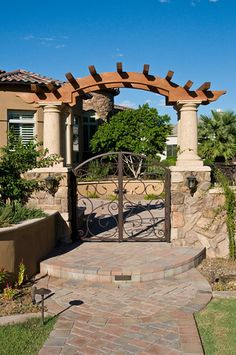 Spanish Style wood Fences and Gates Wrought iron entry gate to courtyard of Tuscan style Chandler custom . Front Gates, Front Yard Fence, Entrance Gates, Entrance Ideas, Fence Gates, Small Fence, Horizontal Fence, Farm Fence, Dog Fence