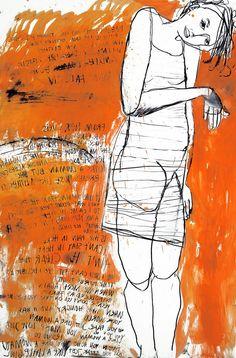 Käthe Schönle _ just like a woman, 2009 _ oil, charcoal on paper, 200x133 cm