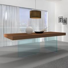 This is a cool dining table! The J&M Furniture Elm Chestnut Wood Glass Leg Dining Table in Walnut is a great addition to your home. If you want to enter the modern era, you have to get this table. Walnut Dining Table, Dining Table Legs, Wooden Dining Tables, Glass Dining Table, Dining Table Design, Modern Dining Table, Coffee Table Design, Table Furniture, Home Furniture
