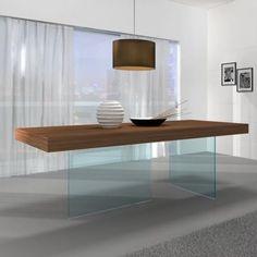 J&M Furniture Elm Chestnut Wood Glass Leg Dining Table in Walnut @besthomehq