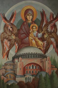 The Virgin and Christ Child over Hagia Sophia. Byzantine Icons, Byzantine Art, Religious Icons, Religious Art, Faith Of Our Fathers, Church Icon, Queen Of Heaven, Sainte Marie, Hagia Sophia