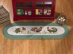 Country Kitchen ROOSTER Braided Runner Area Rug Mat Farm Barn Yard Decor 58 x 20