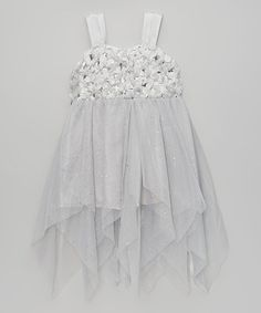 Look what I found on #zulily! Silver Sparkle Bow Dress - Infant, Toddler & Girls #zulilyfinds