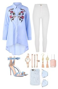 A fashion look from January 2018 featuring blue blouse, high waisted jeans and denim shoes. Browse and shop related looks. Komplette Outfits, Classy Outfits, Trendy Outfits, Fashion Outfits, Womens Fashion, Fashion Trends, Fashion News, Casual Chic, Modele Hijab