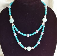 Turquoise Amazonite and Malachite Necklace by AncientPathDesign, $44.00