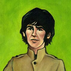 George Harrison of the Beatles - 5x5 Painting Print. $4.50, via Etsy.
