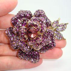 Новый ретро элегантность позолоченные розы лист брошка фиолетовый горный хрусталь кристалл