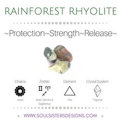 Metaphysical Healing Properties of Rainforest Rhyolite, including associated Chakra, Zodiac and Element, along with Crystal System/Lattice to assist you in setting up a Crystal Grid. Go to https:/wwwsoulsistersdesigns.com to learn more!