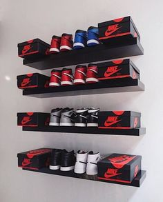 Nike x Adidas: Photo Shoe Wall, Shoe Room, Shoe Closet, Sneaker Storage, Shoe Storage, Shoe Racks, Storage Ideas, Lacoste, Hypebeast Room