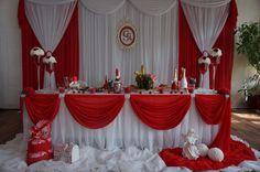 Источник интернет Red And White Wedding Decorations, Desi Wedding Decor, Wedding Hall Decorations, Red And White Weddings, Church Altar Decorations, Backdrop Decorations, Curtain Backdrop Wedding, Head Table Wedding, Backdrops For Parties