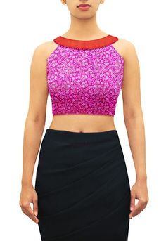 Pink sequin with red raw silk collar band boat neck blouse. Design your own now. www.houseofblouse.com  #saree #blouse #sareeblouse #blousedesigns #desi #indianfashion #india
