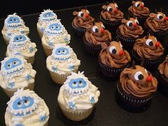 Rudolph the Red Nose Reindeer cupcakes. Super cute but my favorite is the Abominable Snowman. He is the best!!!
