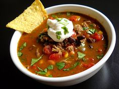 This is one of my very favorite things to make.  I love this taco soup.  I make this almost every week. I use chicken broth instead of water.  In the pressure cooker it takes 15 minutes.