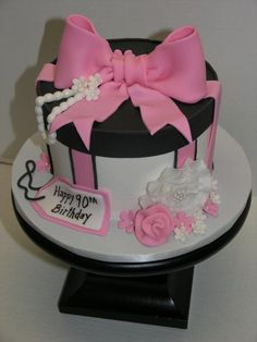 Pink and Black Hat Box - Cake by Jeana Millan