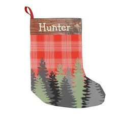 Rustic Cabin Woods Forest Red Plaid Custom Name Small Christmas Stocking