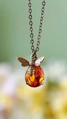 Bee Necklace. Honey Drop and Honey Bee Necklace