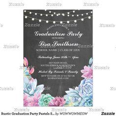 The 45 best zazzle graduation invites images on pinterest rustic graduation party pastels succulents invite filmwisefo