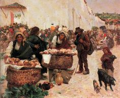 José Malhoa - The Padeiras Market in Figueiró. ++++++++++++++++++++ https://es.pinterest.com/carrerrec/food-cooking-feasting-fasting/