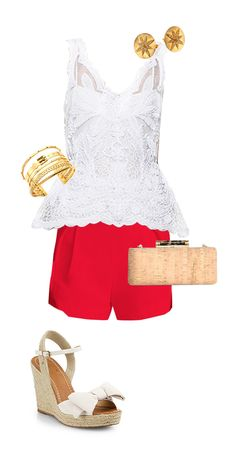 EASY CHIC.  Add a pop of color with bright red shorts. Wedges and a mini clutch take this look from casual to chic.  Find the Style Corner from app's front page and see style tips from Samantha Scragg!